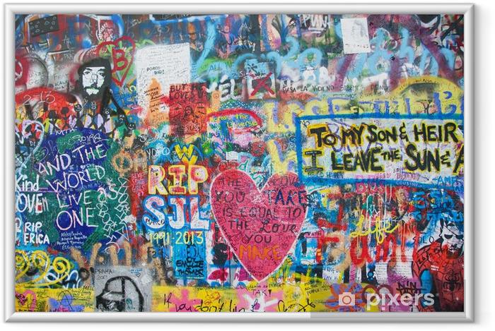Plakat w ramie Kolorowe John Lennon ściana w Pradze - Tematy