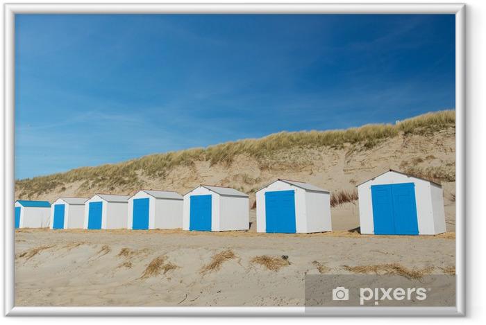 Ingelijste Poster Blauwe strandhuisjes - Vakantie