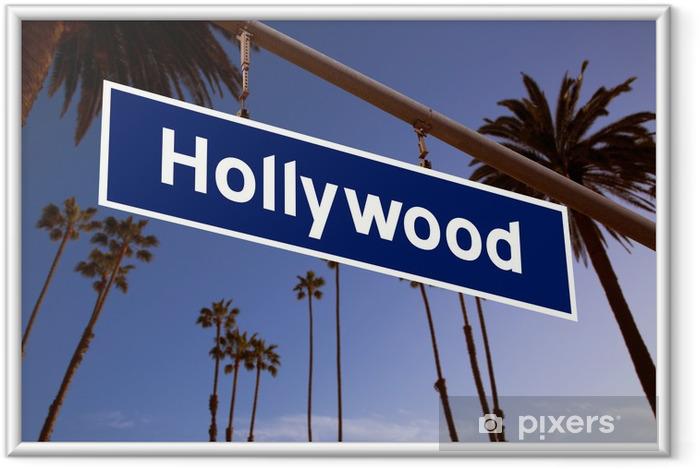 Ingelijste Poster Hollywood teken illustratie over LA Palmbomen - Amerikaanse steden