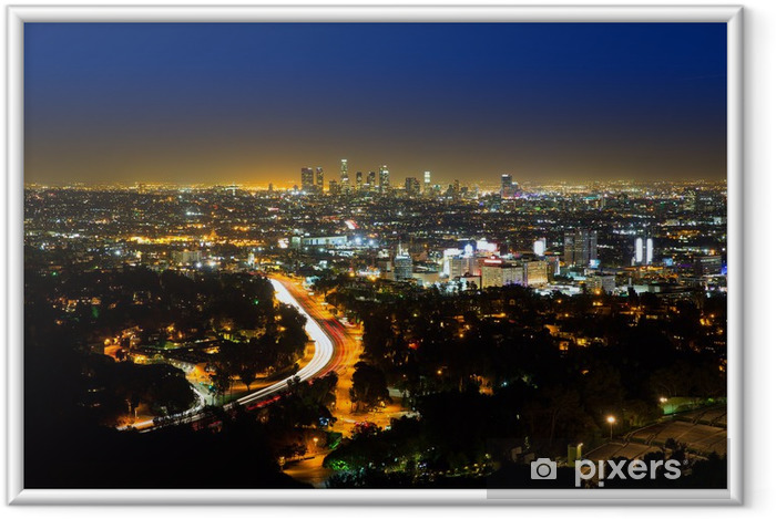 Ingelijste Poster Downtown LA nacht Los Angeles skyline zonsondergang Californië - Thema's
