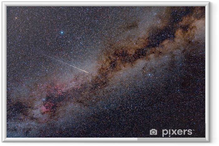 Perseid Meteor Crossing the Milky Way Indrammet plakat -