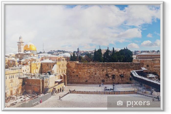 Den vestlige mur i Jerusalem, Israel Indrammet plakat - Mellemøsten