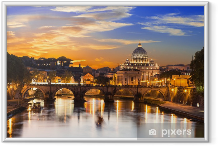 Ingelijste Poster Sunset uitzicht op de Sint-Peter en de rivier de Tiber in Rome. Italië -