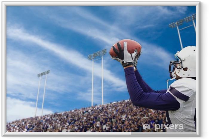 Ingelijste Poster Voetbalster vangen van een Touchdown Pass - American Football