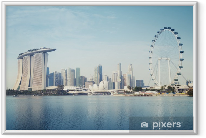 Singapore`s business district Framed Poster - Asian Cities