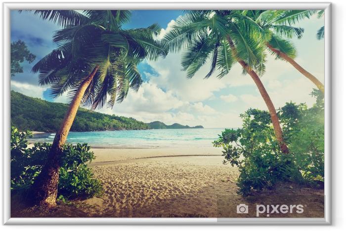 Ingelijste Poster Zonsondergang op het strand, Mahe, Seychellen - Thema's