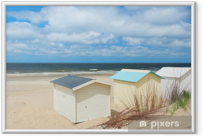 Ingelijste Poster Strand hutten op Texel - Vakantie