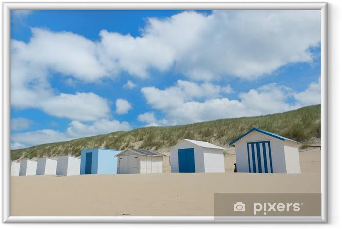 Ingelijste Poster Blauw strand hutten op Texel - Vakantie