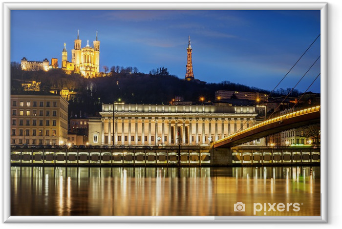Poster en cadre Lyon à l'heure bleue - Europe