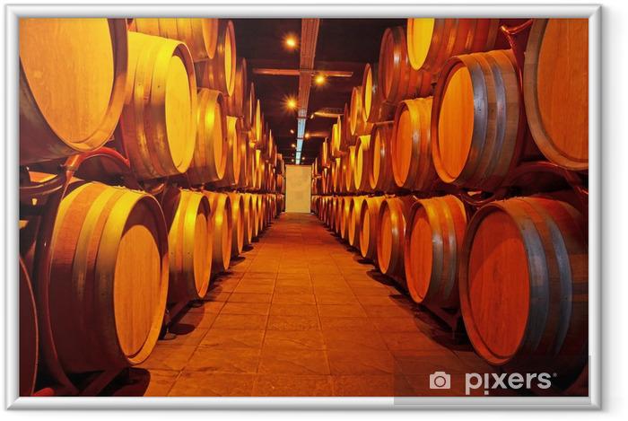 Plakat w ramie Wino - drewniane beczki - piwnica - Akcesoria