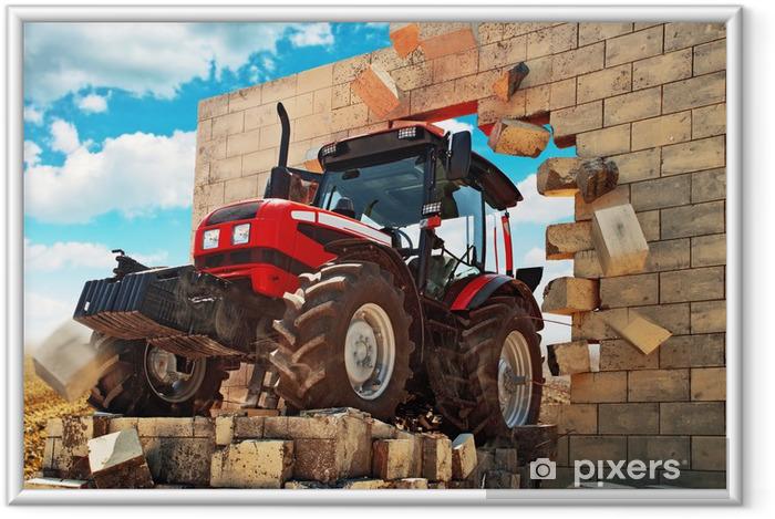 Ingelijste Poster Gloednieuwe tractor doorbreken van de muur - Thema's