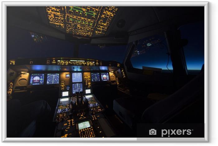 Ingelijste Poster Cockpit van vliegtuigen bij zonsopkomst of zonsondergang - Stijlen