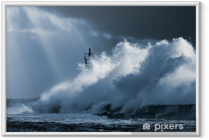 Plakat w ramie Atlantycki sztorm - Latarnia morska