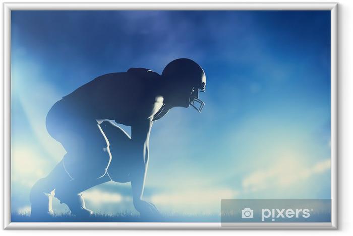 Póster Enmarcado Jugadores de fútbol americano de juego. luces del estadio - Fútbol Americano