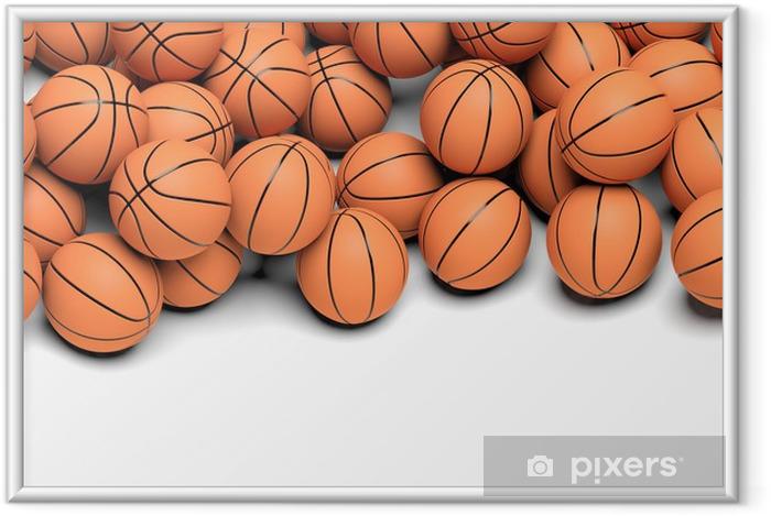 Plakat w ramie Piłki do koszykówki na białym tle - Koszykówka