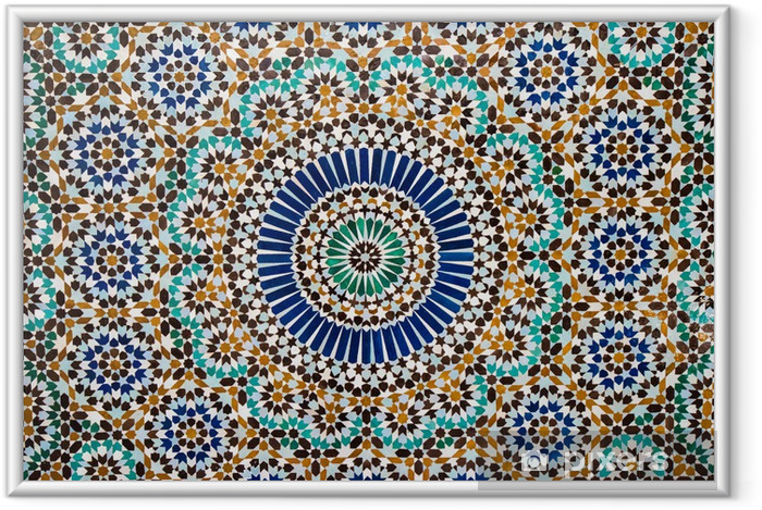 Ingelijste Poster Marokkaanse vintage tegel achtergrond - Mozaïek