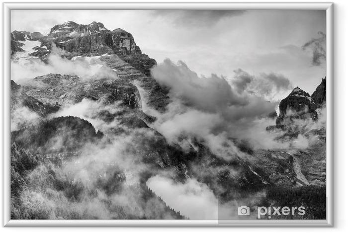 Póster Enmarcado Dolomitas Montañas Blanco y Negro -