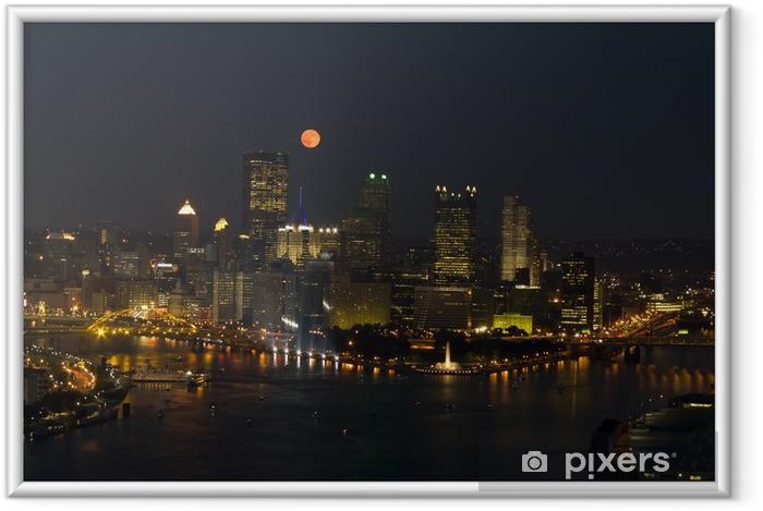 Ingelijste Poster Volle maan over gebouwen van de Stad - Amerika