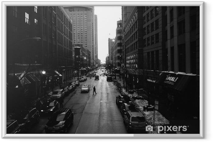 Çerçeveli Poster Siyah ve Beyaz Chicago Sokaklar - Binalar ve mimari