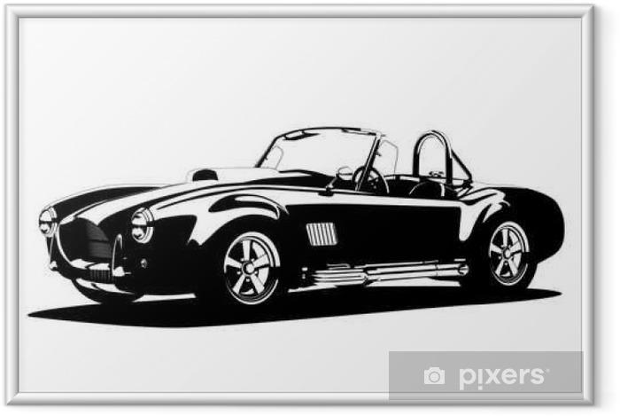 Póster Enmarcado Coche deportivo clásico silueta AC Shelby Cobra Roadster - Transportes
