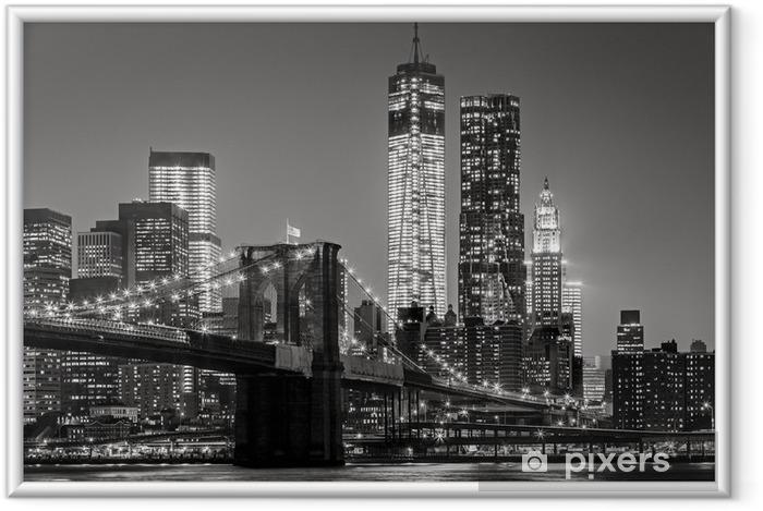 Poster in Cornice New York by night. Ponte di Brooklyn, Lower Manhattan - un nero -