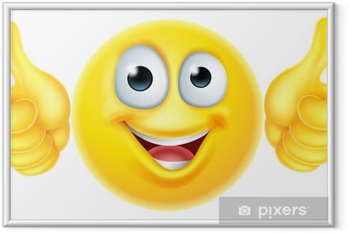 Póster Enmarcado Pulgares para arriba emoticono emoji - Señales y símbolos