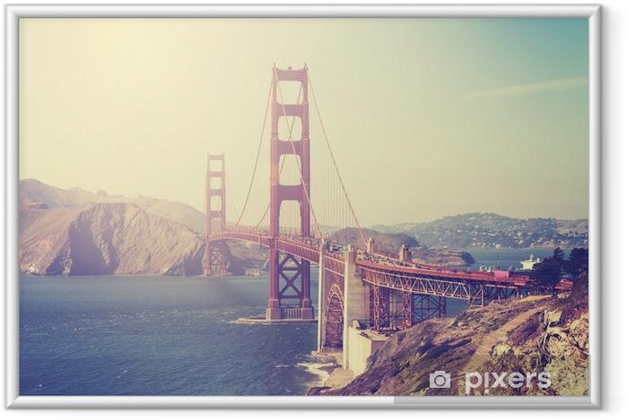 Póster Enmarcado Imagen entonada vintage del puente Golden Gate, san francisco. - Viajes
