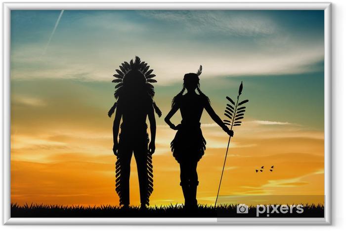 Indians pari siluetti auringonlaskun aikaan Kehystetty juliste - PI-31