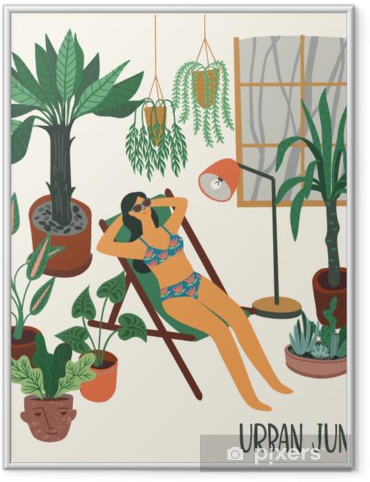 Çerçeveli Poster Kentsel orman moda ev dekorasyonu ile vektör çizim. houseplants, tropikal yapraklar. - Binalar ve mimari