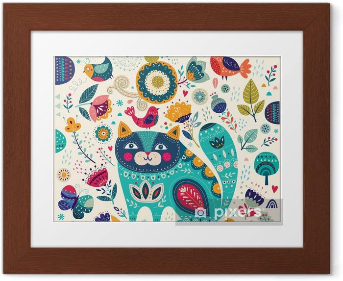 Ingelijste Poster Vector kleurrijke illustratie met mooie kat, vlinders, vogels en bloemen - Dieren