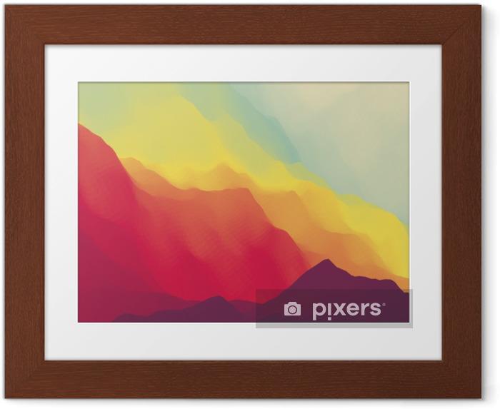 Çerçeveli Poster Dağ manzarası Dağlık arazi. dağ tasarımı. dağlar arka vector silhouettes. gün batımı. afiş, el ilanı, kitap kapağı, afiş, web afiş için kullanılabilir. - Manzaralar