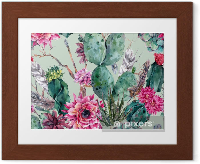 Poster i Ram Kaktus vattenfärg seamless i boho stil. - Växter & blommor