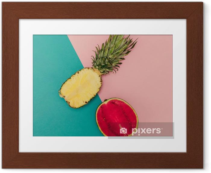 Tropisk blanding. Ananas og vandmelon. minimal stil Indrammet plakat - Livsstil
