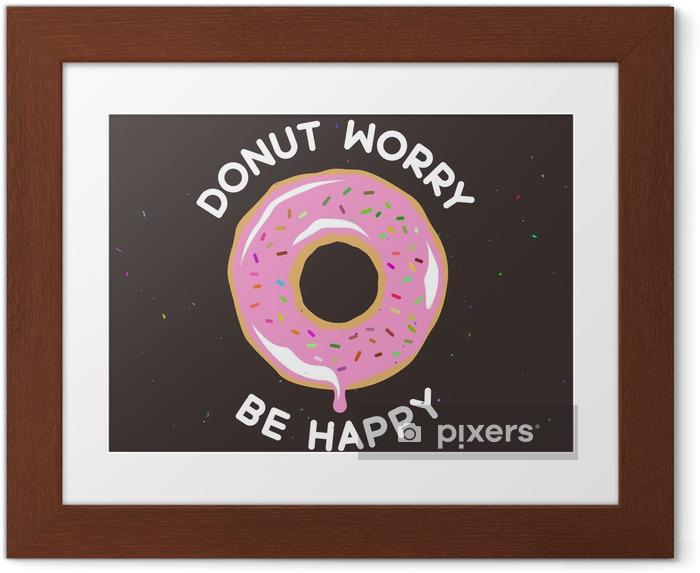 Plakat w ramie Nie martw się być szczęśliwy rocznika plakatu. ilustracji wektorowych. - Jedzenie