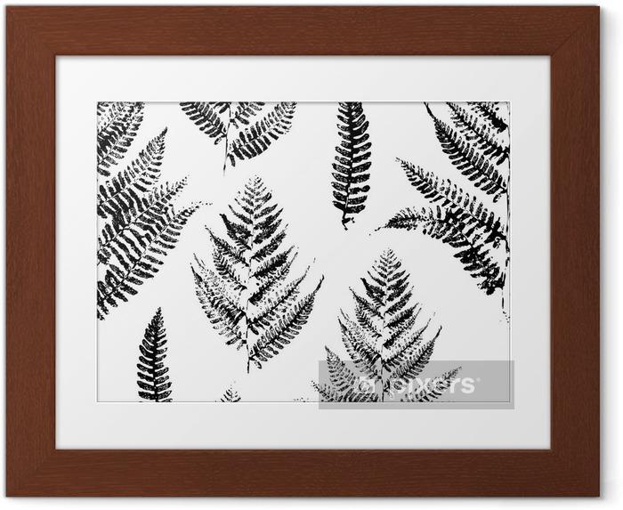 Plakat w ramie Jednolite wzór z nadrukami farby liści paproci - Industrialny