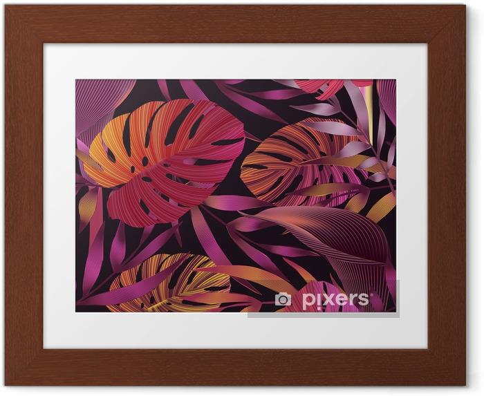 Plakat w ramie Tropikalne kwiaty, liście, jungle bird of paradise kwiat. - Rośliny i kwiaty