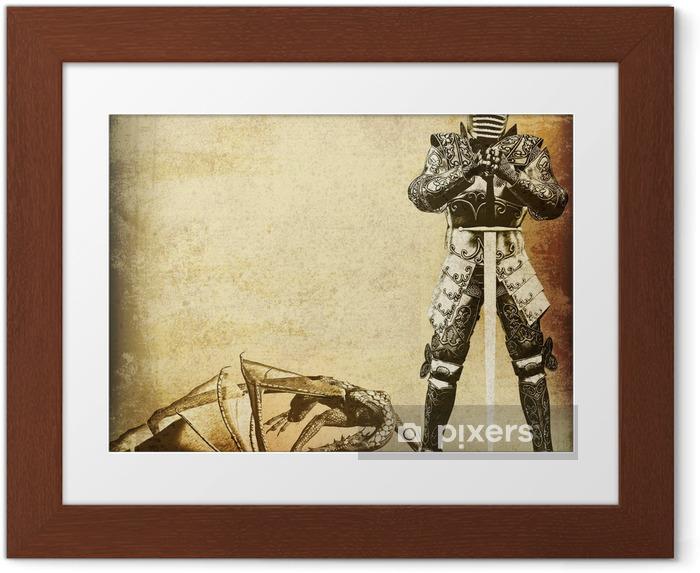 Poster i Ram Knight och Dragon, tappning utformar illustrationen på antiqued papper - Riddare