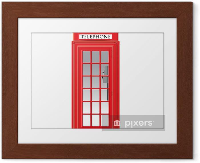 Plakat w ramie Czerwona budka telefoniczna - londyn - wektor - Miasta europejskie