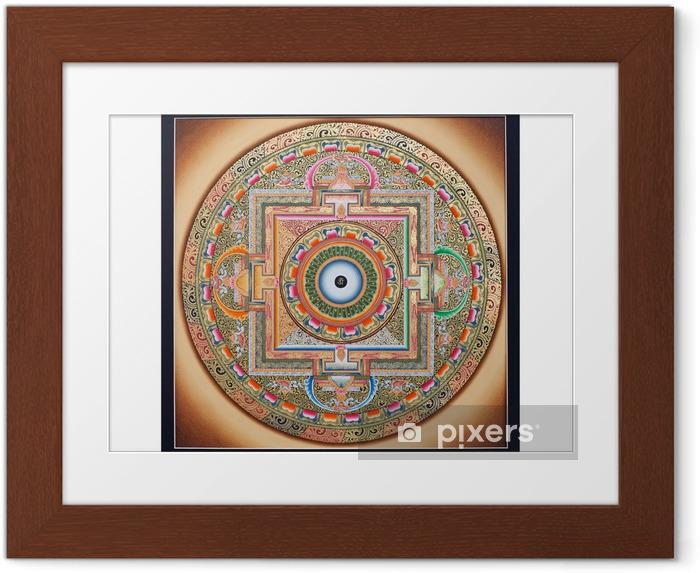 Ingelijste Poster Binnenste gedeelte van het oude tangka Ohm Mandala op wit - Thema's