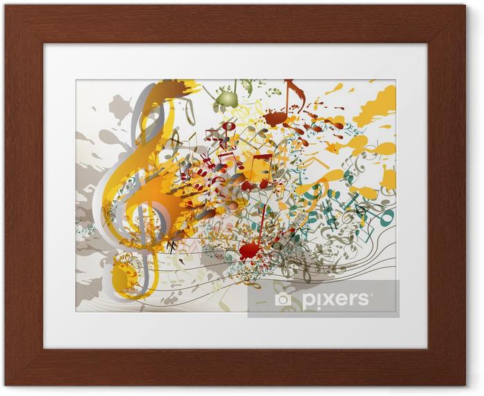 Póster Enmarcado Art clave de sol ornamentado con salpicaduras de colores, pentagramas y notas fo - Eventos nacionales