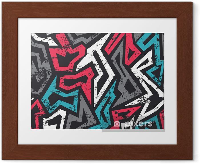 Póster Enmarcado Color graffitis sin patrón con efecto grunge - Recursos gráficos