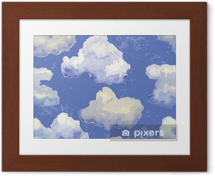 Póster Enmarcado Vector sin patrón con acuarela nubes azules - Recursos gráficos