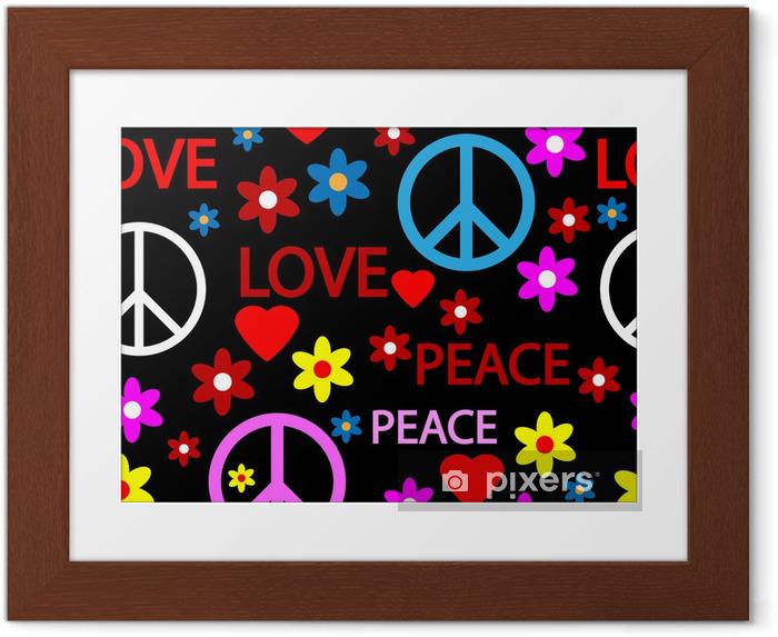 Gerahmtes Poster Nahtlose Muster mit Symbolen der Hippie - Hintergründe