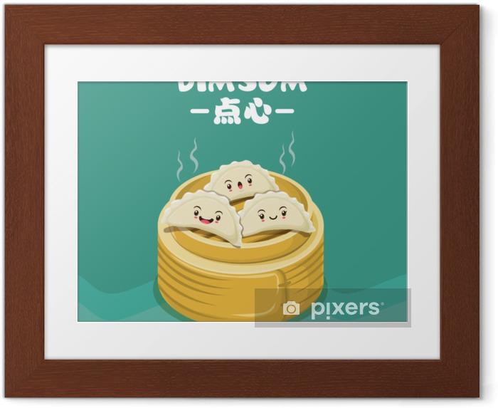 Plakat w ramie Projekt plakatu rocznika dim sum. chiński tekst oznacza chińskie danie z małymi parowanymi lub smażonymi pikantnymi knedlami zawierającymi różne nadzienia, podawane jako przekąska lub danie główne. - Jedzenie