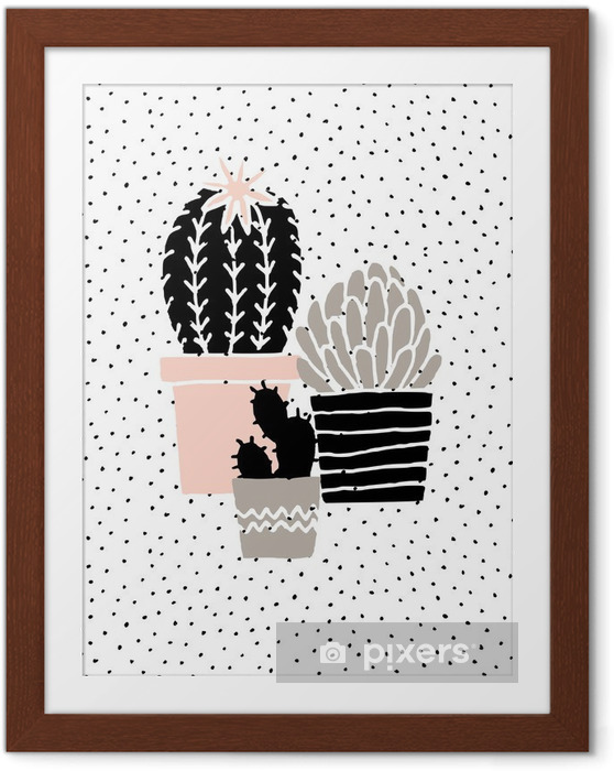 Poster i Ram Hand Drawn Cactus affisch - Grafiska resurser