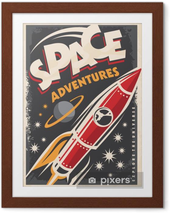 Plakat w ramie Kosmiczne przygody, retro plakat z rakietą kosmiczną badającą wszechświat. - Nauka