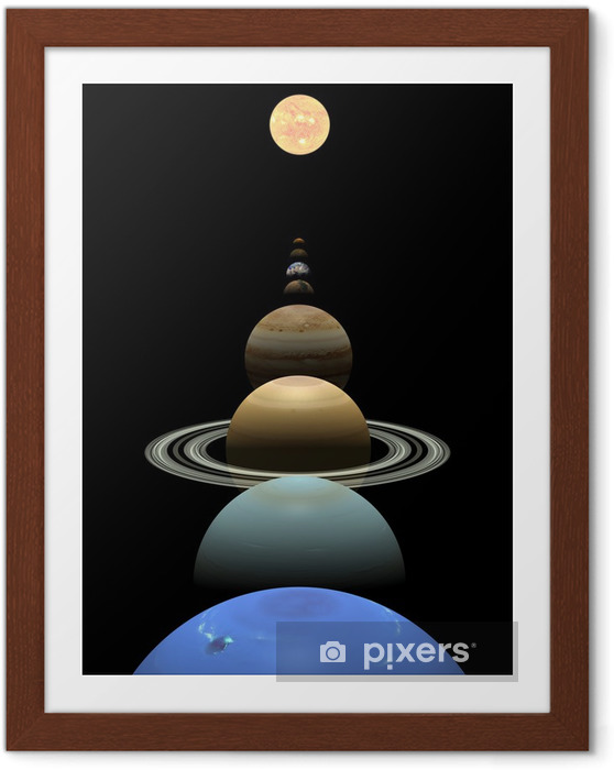 Póster Enmarcado Planetas del sistema solar alrededor del sol en la alineación - Espacio exterior