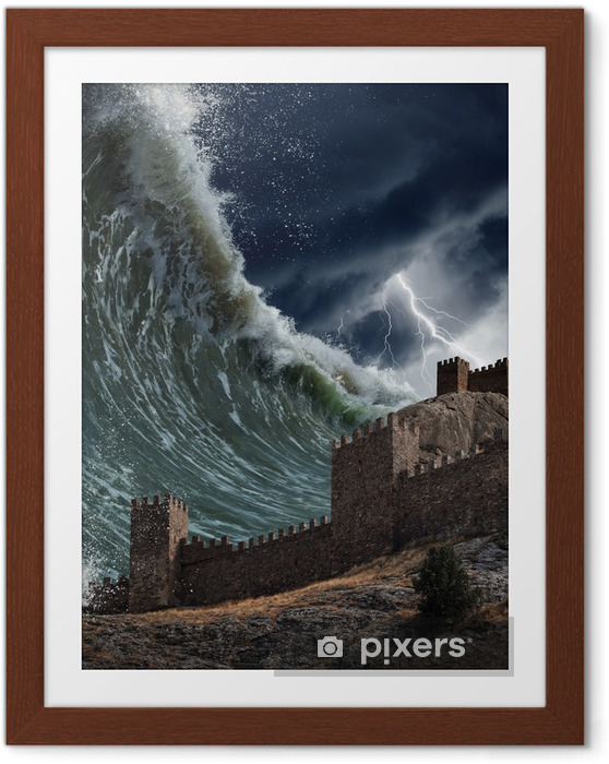 Plakat w ramie Gigantyczne fale tsunami awarii starej twierdzy - Klęski żywiołowe