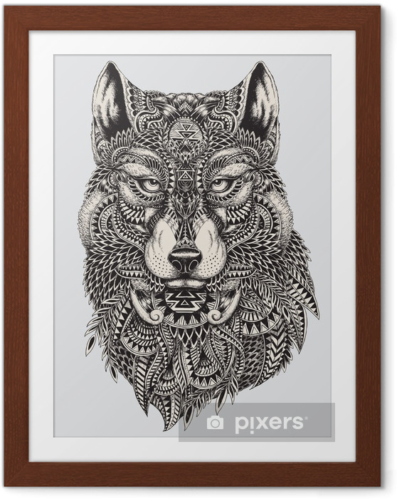 Póster Enmarcado Muy detallada lobo ilustración abstracta - Estilos