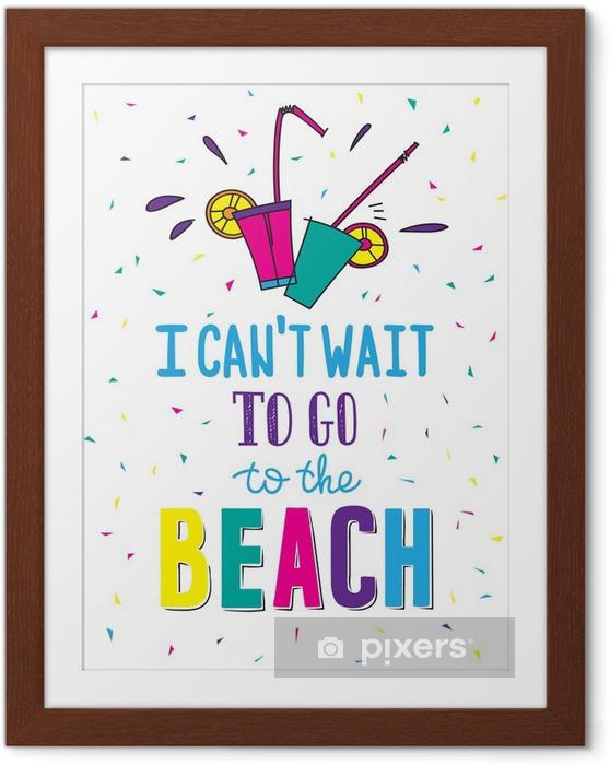 Plakát v rámu Ručně malovaná letní plakát s citací - Koníčky a volný čas